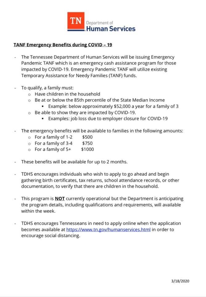 TANF Emergency Benefits for COVID-19