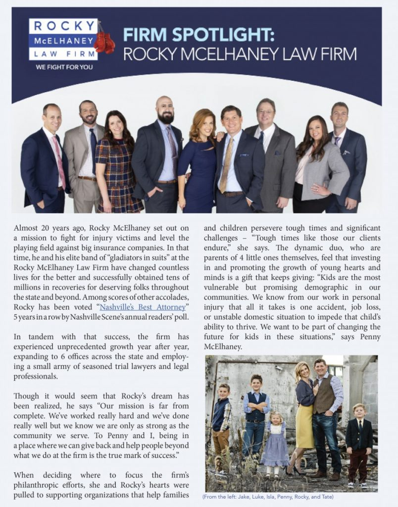Rocky McElhaney Tennessee Trial Lawyers Association Firm Spotlight, Page 1