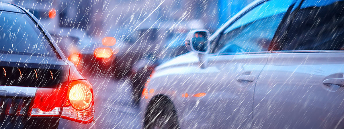 Rainy and Sleety Fall Weather Car Accident